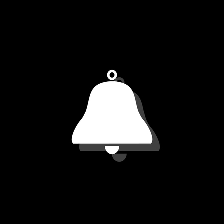 Bell. White flat simple icon with shadow