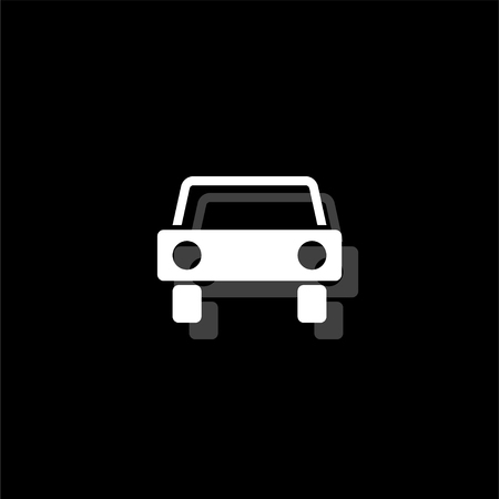Car. White flat simple icon with shadow