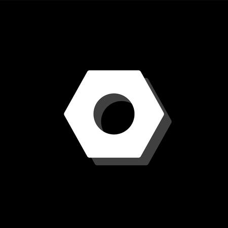 Hex nut. White flat simple icon with shadow Vectores