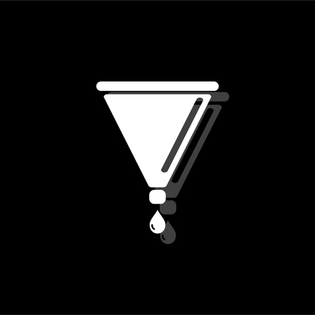 Filter funnel. White flat simple icon with shadow