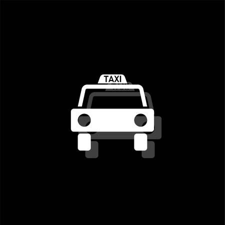 Taxi car. White flat simple icon with shadow