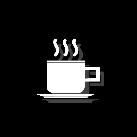 Coffee cup. White flat simple icon with shadow