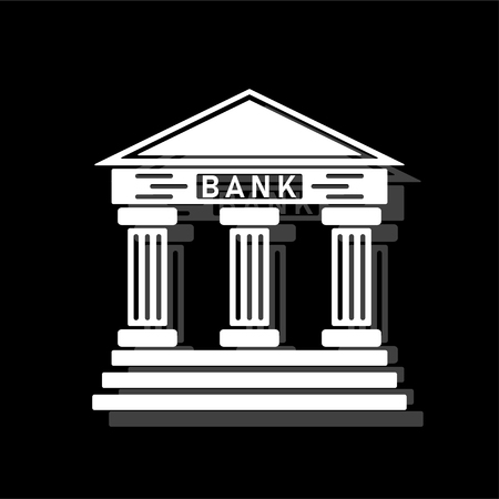 Bank. White flat simple icon with shadow