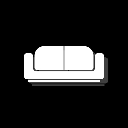 Bed. White flat simple icon with shadow