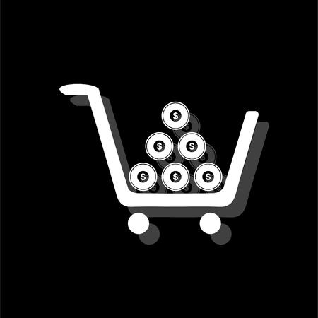 Shopping cart. White flat simple icon with shadow Ilustração