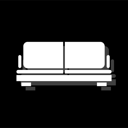 Sofa. White flat simple icon with shadow Illustration