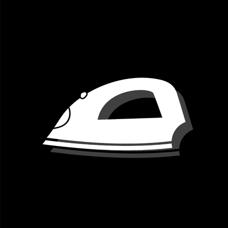 Iron. White flat simple icon with shadow Ilustrace