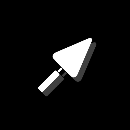 Trowel. White flat simple icon with shadow Illustration