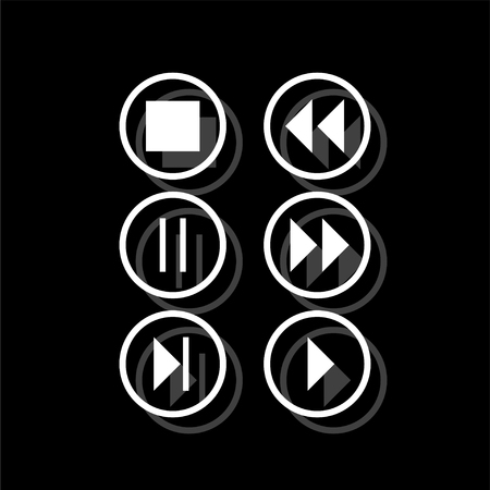 Video Audio Player buttons. White flat simple icon with shadow Ilustrace