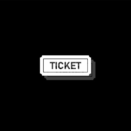 Ticket. White flat simple icon with shadow
