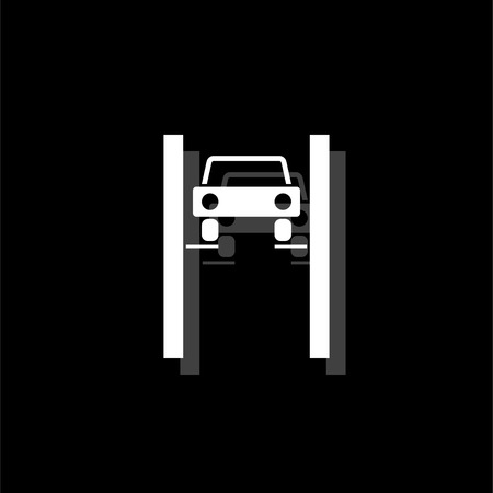 Car lifting. White flat simple icon with shadow