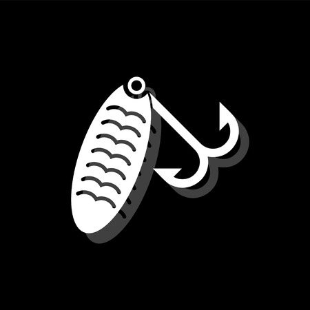 Fishing tackle. White flat simple icon with shadow