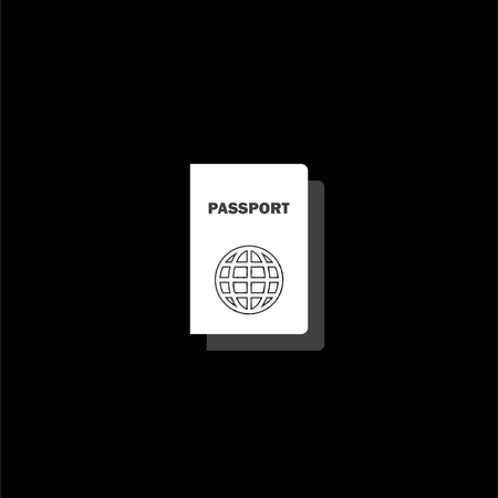 Passport. White flat simple icon with shadow