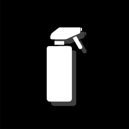 Spray. White flat simple icon with shadow