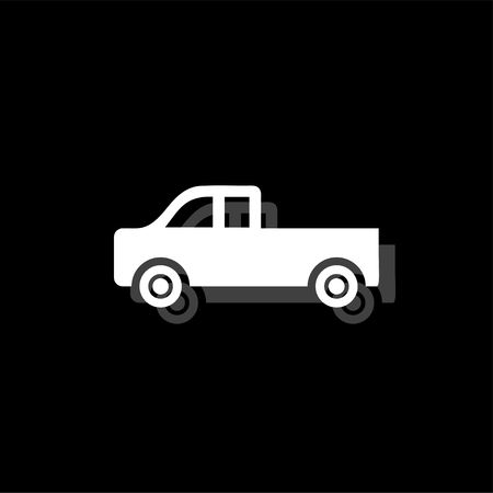 Pickup truck. White flat simple icon with shadow