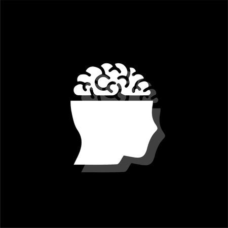 Open mind. White flat simple icon with shadow