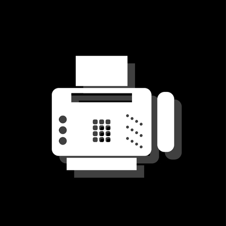 Fax machine. White flat simple icon with shadow