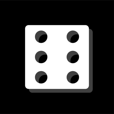 Dice. White flat simple icon with shadow 일러스트
