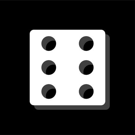 Dice. White flat simple icon with shadow Ilustração