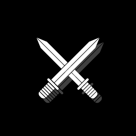 Cross swords. White flat simple icon with shadow Çizim
