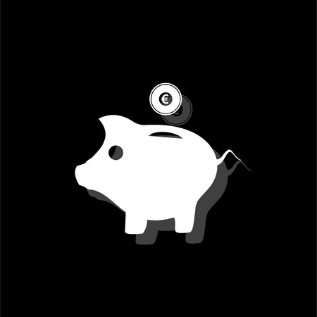 Pig Money Box. White flat simple icon with shadow