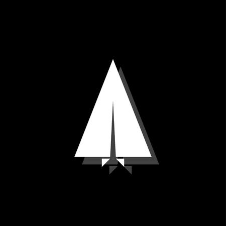 Paper plane. White flat simple icon with shadow 일러스트