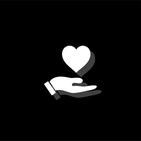 Hands love design. White flat simple icon with shadow