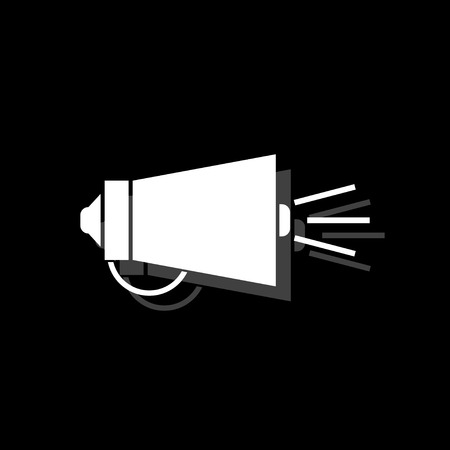 Megaphone. White flat simple icon with shadow Illustration
