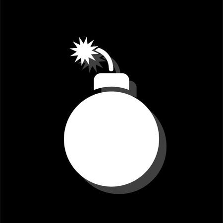 Bomb. White flat simple icon with shadow Illustration