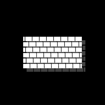 Brick wall. White flat simple icon with shadow