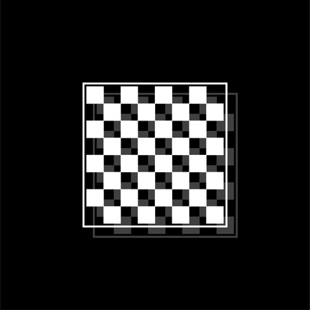 Empty chess board. White flat simple icon with shadow