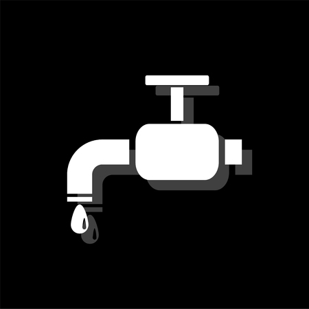 Faucet. White flat simple icon with shadow Illustration
