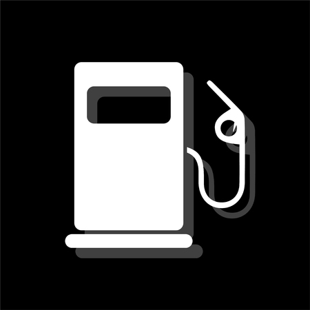 Gas station. White flat simple icon with shadow