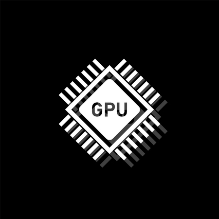 Gpu. White flat simple icon with shadow Иллюстрация