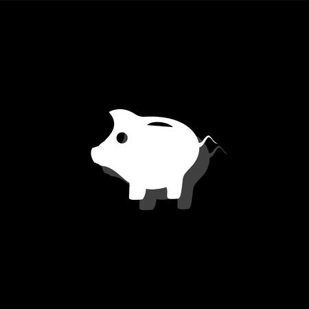 Pig. White flat simple icon with shadow