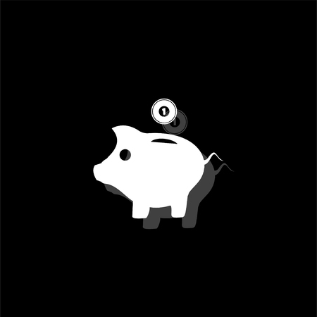 Moneybox. White flat simple icon with shadow