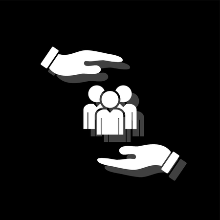 Helping hands. White flat simple icon with shadow