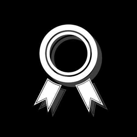 Award. White flat simple icon with shadow