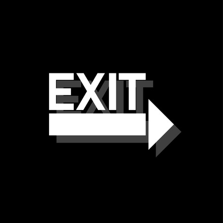 Exit. White flat simple icon with shadow