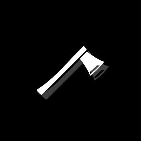 Axe. White flat simple icon with shadow