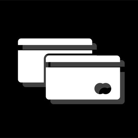 Credit Cards Payment. White flat simple icon with shadow Illustration