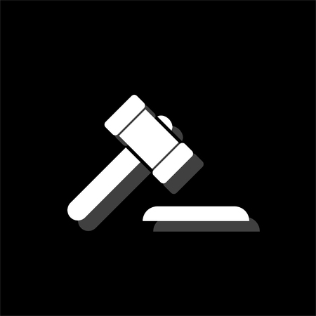 Hammer judge. White flat simple icon with shadow
