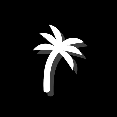 Palm. White flat simple icon with shadow