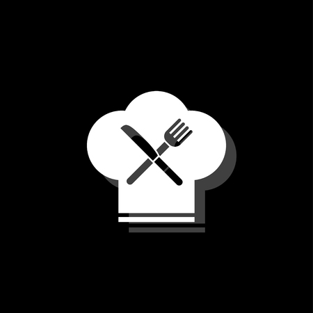 Restaurant menu. White flat simple icon with shadow Ilustração