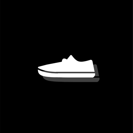 Sneakers. White flat simple icon with shadow