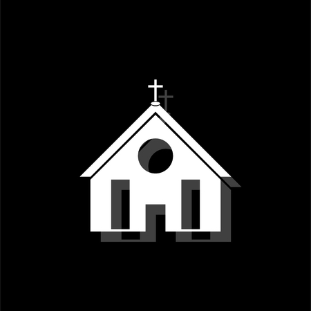 Church. White flat simple icon with shadow