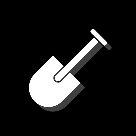 Mini Shovel. White flat simple icon with shadow