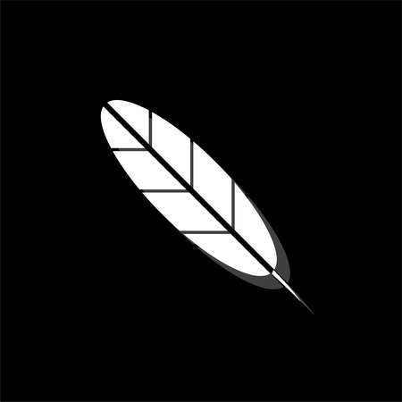 Feather. White flat simple icon with shadow