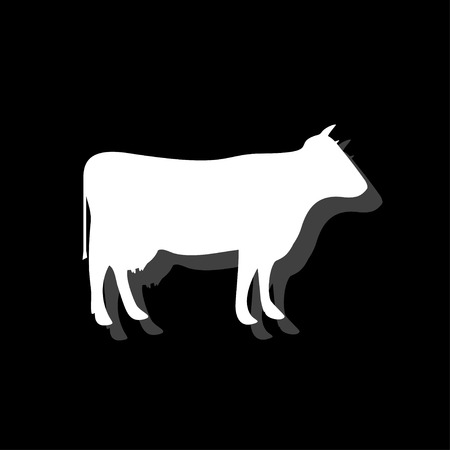 Cow. White flat simple icon with shadow