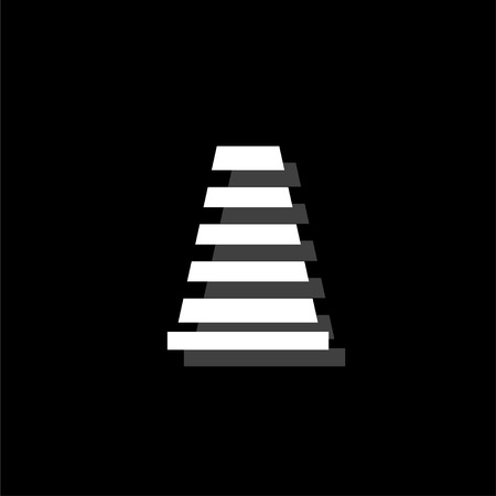 Traffic cone. White flat simple icon with shadow